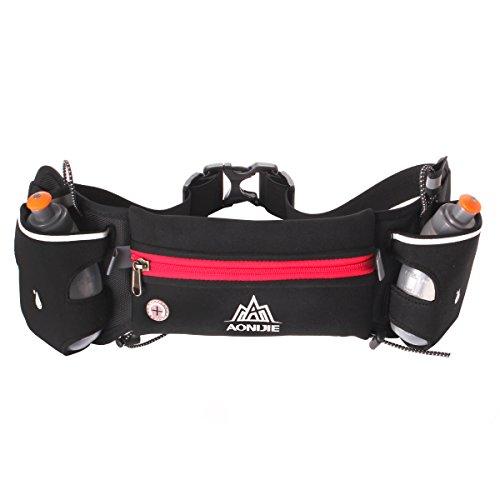 Geila Sport Hydratation Laufen Gürtel Wasserdichte Waist Bag mit 2 BPA-freien Wasserflaschen für Laufen Wandern Radfahren Klettern Rot