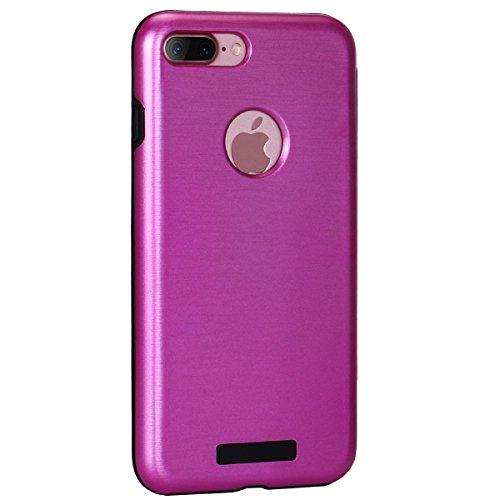"""Cover pour Apple iPhone 7Plus 5.5"""", CLTPY Portable Brushed 2 en 1 Dual Layer Etui en Portefeuille Doux Gel Rubber + Difficile Tough Plastique Couvercle avec Fente Carte et Kickstand Protection Extreme Rose Rouge A"""