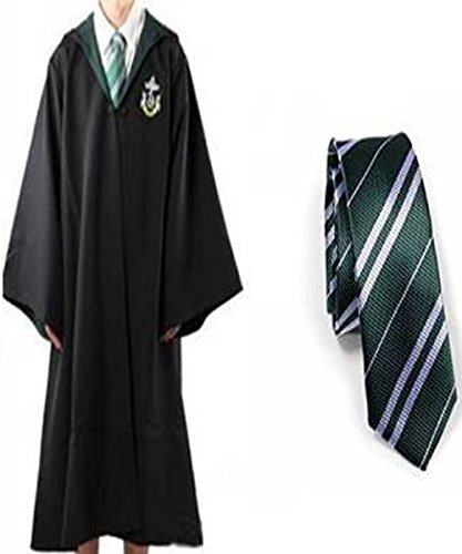 Billig Potter Kostüm Harry - Harry Potter Jugend Erwachsene Robe with tie Umhang Slytherin Fancy Dress Cosplay (Size L)
