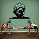 YuanMinglu Yoga Bogen Körperhaltung Position Wandaufkleber Vinyl Wandaufkleber Mandala Buddha Interior Design Abziehbilder Haushaltsgegenstände schwarz 57x69cm
