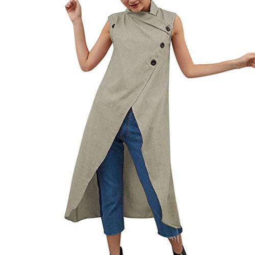 Leinen Kleider Damen Rundhals Strandkleider Einfarbig A-Linie Kleid Ärmellos Knielang Kleid Baumwolle Leinen Tunika Kleid Maxikleid Große Größe mit Taschen ()