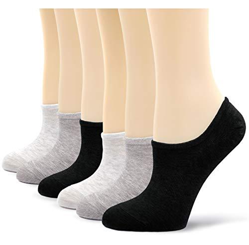 Teenloveme calzini fantasmini da donna, calze invisibili salvapiede elasticizzato in cotone da donna, donne calze basse con silicone antiscivolo, eu 35-42