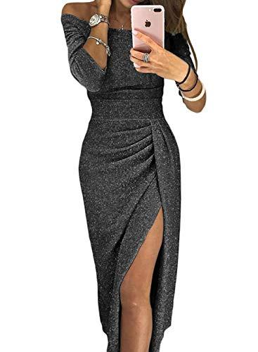 aleumdr vestito donna manica 3 4 abito donna off shoulder vestiti eleganti  con spacco a coscia 4b328e172e0