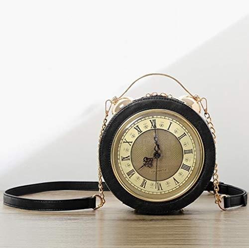 MYYDD Frauentasche, kleine runde Tasche Mode kreative Persönlichkeit-Uhr-Tasche Handtaschen-Sack,A