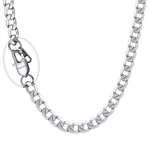 PROSTEEL Herren Kette 6mm breit Panzerkette Halskette 55cm/22 in. Edelstahl Gliederkette mit personalisiert Verschluss trendig Schmuck für Jungen