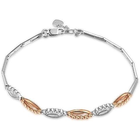 14K Bicolore Rosa e Oro bianco diamante ovale segmento, lunghezza 17,5cm/6,5cm, San Valentino regalo per donne e ragazze adolescenti