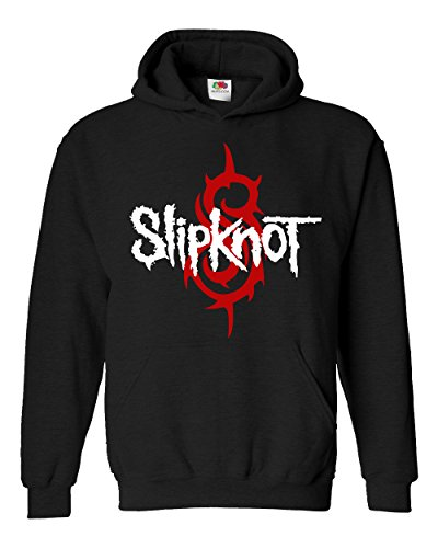 "Felpa Unisex ""Slipknot"" - Red and White logo - Felpa con cappuccio rock band LaMAGLIERIA, S, Nero"