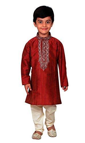 Indien Pakistan Jungen Sherwani Kurta Churidar Kameez in Art Seide für EID & Hochzeit 856, Rot - Maroon, (8 Jahre) -