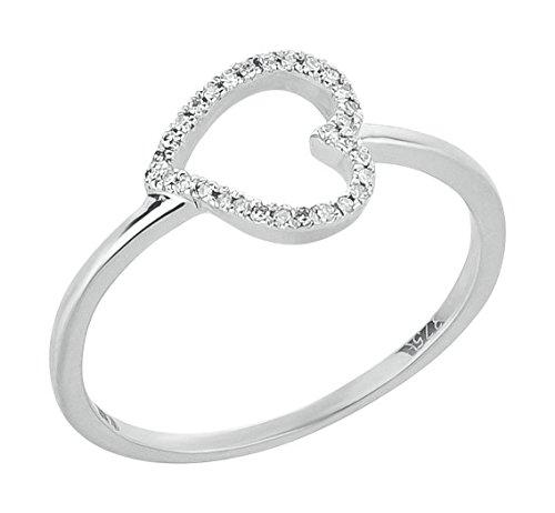 Herz Goldring 375 Gold in Weißgold mit 0,04 ct Diamanten Brillanten Ring
