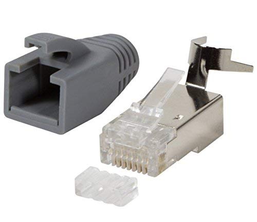 odedo® 10er Pack Crimpstecker grau CAT 7, CAT 7A, CAT 6A für Verlegekabel bis 8mm 10GBit Gigabit Ethernet starre oder Flexible Adern 1.2-1.45mm RJ45 Stecker Metall geschirmt mit Einfädelhilfe -