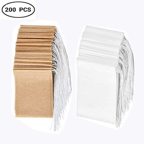 Set de bolsas de filtro de té desechables de 200, Bolsa de té de papel de un solo uso con material seguro y natural con cordón, bolsa de infusión de té vacía.