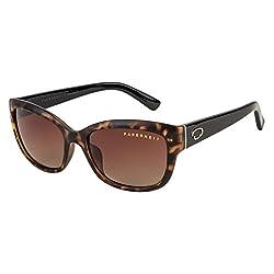 Farenheit Polarized Rectangular Womens Sunglasses - (SOC-FA-1614P-C3|54|Brown Color Lens)
