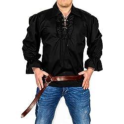 Foxxeo Camisa Pirata Hombre Camiseta Negra Camiseta Medieval Carnaval, Talla: M