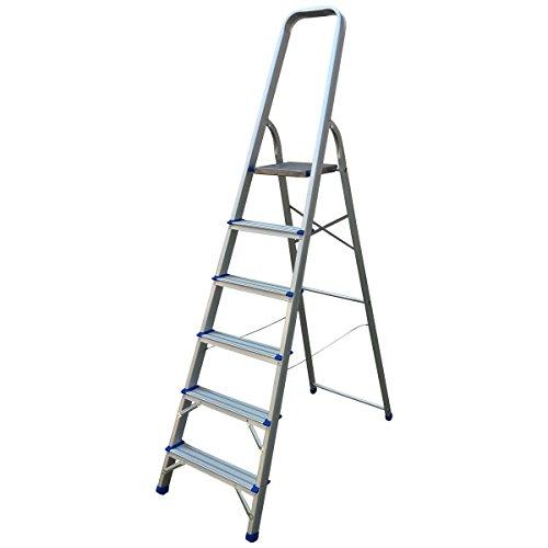 41FkA16KVbL - BEST BUY# 6 Step Aluminium Ladders Stepladders DIY Tools Lightweight Platform Reviews