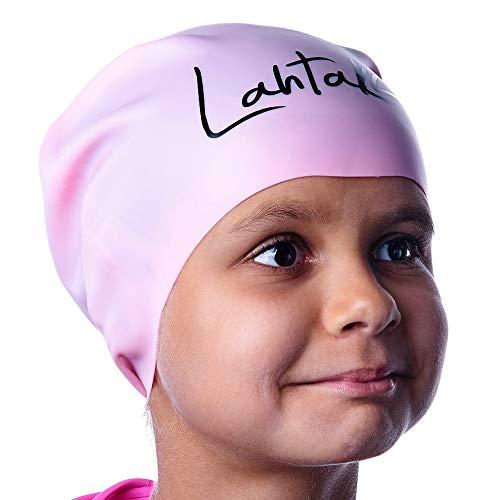 Badekappe Kinder Lange Haare - Badekappe für Mädchen Jungen Kids Teens mit langem lockigem Haar Zöpfe Dreadlocks - 100% Silikon hypoallergene Wasserdichte Badehaube (Rose Quartz M)