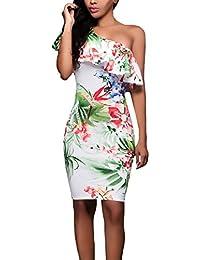 d4b42327b7 Vestidos De Fiesta Mujer Elegante Verano con Esencial Volantes One-Hombro  Vestido Bandage Coctel Classic