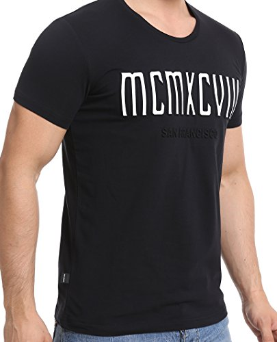 Herren T-Shirt Red Bridge Kurzarm MCMXCVIII Modern Characters Slim Fit Baumwolle Black