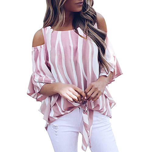 Direkte Mesh Shorts (Frauen Striped Off Schulter Tie Knot Mesh Panel Bluse 3/4 Bell Sleeve Loose Top Shirt)