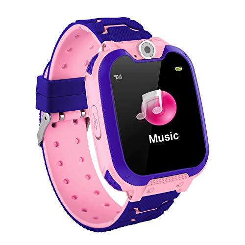 MINGRONG Kinder Smartwatch GPS-Tracker, wasserdicht, Sprach-Chat, integriertes Spiel, 3,6 cm Touchscreen-Kinder-Sport-Armbanduhr Rose