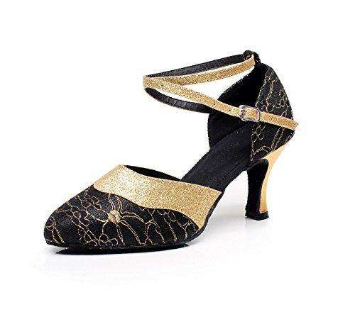JSHOE - Sandali da Donna, Stile Latin Danza, Chiusi con Dita dei Piedi High HeelSalsa/Tango/ChaCha/Samba/Modern/Jazz Sandalias, Black-heeled7,5 cm - UK4.5/EU36/Our37