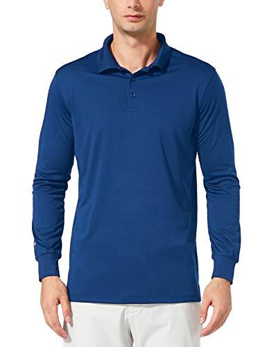 Baleaf Herren Golf Poloshirt UPF50+ Schnelletrockende Langarm Golf Shirt Royal Blau M (Langarm-shirt Blau Polo)