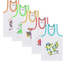 Luke and Lilly 100% Cotton Kids, Baby,Unisex Printed Vest Brief - Pack of 5