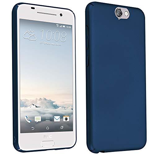 Cadorabo Hülle für HTC One A9 - Hülle in Metall BLAU - Hardcase Handyhülle im Matt Metal Design - Schutzhülle Bumper Back Case Cover