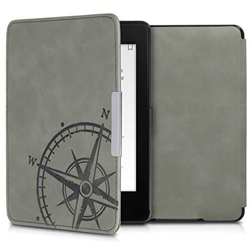 kwmobile Amazon Kindle Paperwhite Hülle - Kunstleder eReader Schutzhülle Cover Case für Amazon Kindle Paperwhite - (für Modelle bis 2017) - Kompass Vintage Design Grau