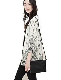 SKY Specially !!! Mujeres elefante impreso media manga Kimono Cardigan abrigo Blusa tapa
