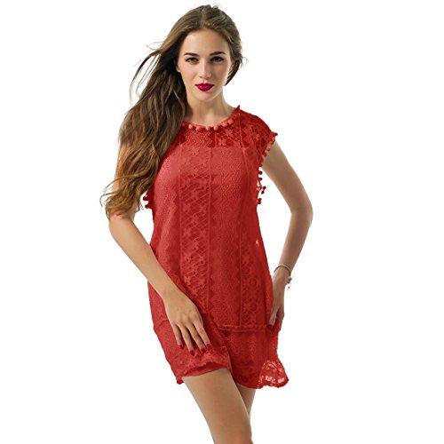 Sommer weisse Minikleid Frauen Spitze Kleid Beilaeufiges Sleeveless Partei Kleid Rot