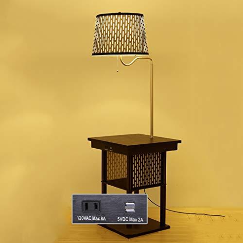 GX Stehlampe mit Regalen Kaffeetisch Wieder Aufladbar Mit Tischfußbodenlampe,Kreatives Wohnzimmer-Schlafzimmer-Studien-Speicher-Gestell-Regenschirm-Licht AA+ -