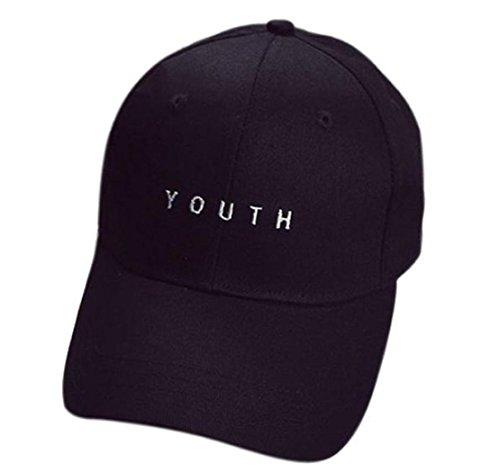 WOCACHI Unisex Baseball Caps YOUTH Stickerei Jungen Mädchen Hip Hop Baumwolle flacher Hüte Mützen (One size, Schwarz)