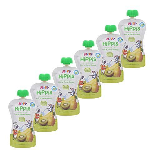 HiPP HiPPiS Quetschbeutel, Kiwi in Birne-Banane, 100{bab84c4555366e1b1b26b99dab05e597b7db8a78022a63cf183bb090165ea873} Bio-Früchte ohne Zuckerzusatz, 6 x 100 g Beutel