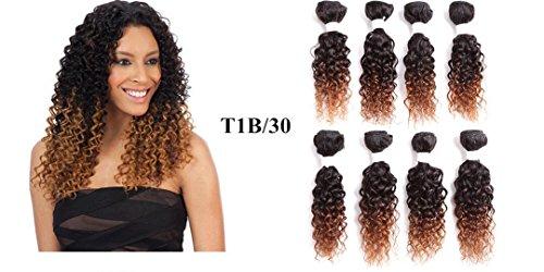 Miscela sintetico extension capelli 20,3cm 2tone ombre color curly hair weave bundles 8pcs per pack bundles hair weft