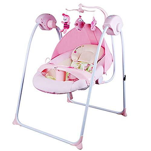 2-in-1 elektrische Kleinkind Schaukel Chiar und Hochstuhl, mit 3D hart Waschbecken Swing Seat, Klappwiege für Born Baby Hängematte Rocker Bouncer,Pink (Hochstuhl Und Schaukel)