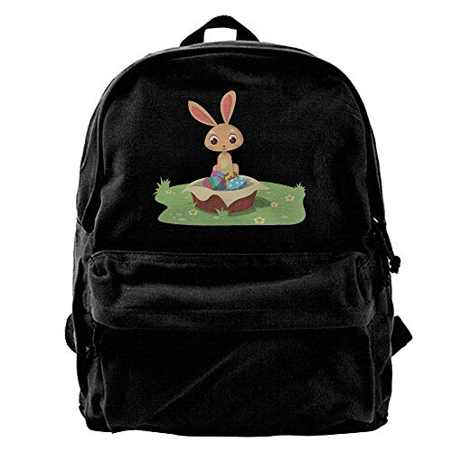 Rucksäcke, Daypacks,Taschen, Unisex Classic Canvas Backpack Cool Easter Bunny Unique Print Style,Fits 14 Inch Laptop,Durable,Black