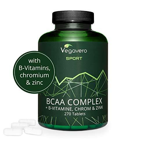 BCAA Vegano Vegavero SPORT® 5000 mg | EL ÚNICO SIN ADITIVOS | 270 Comprimidos | Con Vitaminas B + Cromo + Zinc | Suplemento Aminoácidos Ramificados + Proteína + Masa Muscular | Productos Gym