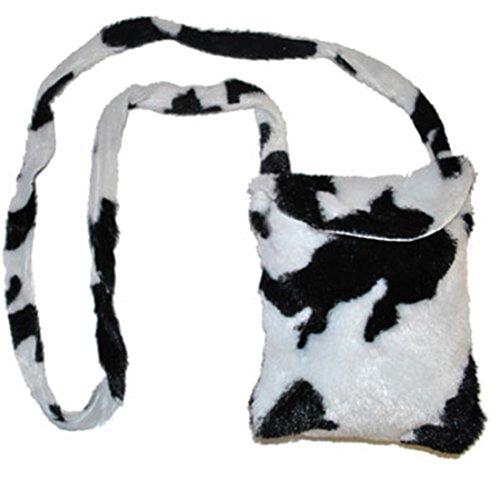 Kuh Accessoires Kostüm - Halloweenia - Kostüm Zubehör Tasche Kuh Felloptik Print Kuh Kostüm, Weiß