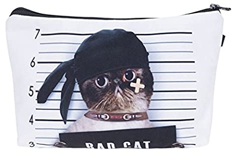 Kukubird Girls Printed Make Up Bag Wash Bag Toiletry Cosmetics Wallet Pencil Pen Holder Organiser Pouch Case - Bad Cat