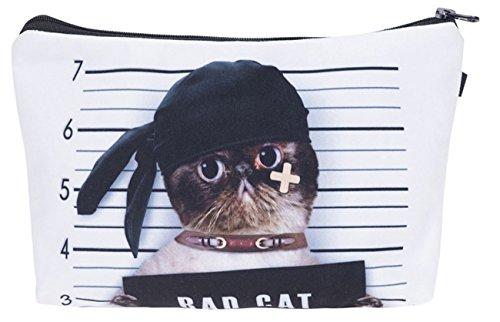 Kukubird Girls Printed Make Up Bag Wash Bag Toiletry Cosmetics Wallet Pencil Pen Holder Organiser Pouch Case - Bad Cat (Make-up Kids Cat)