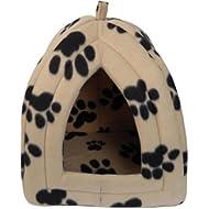 New Dog Cat Warm Fleece Winter Bed Igloo House Soft Luxury Basket For Pets Puppy Shopmonk (Beige)