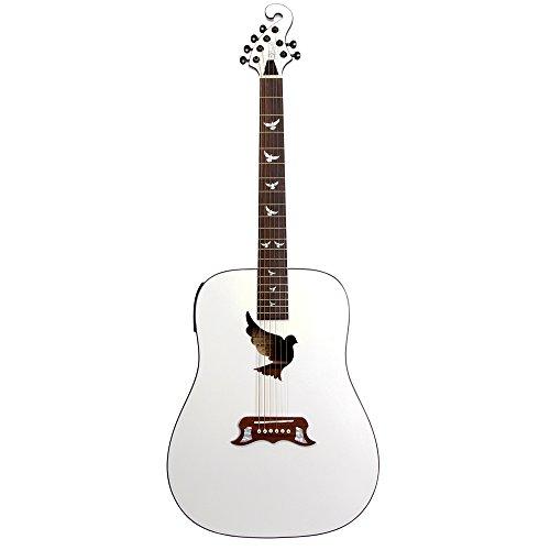 Lindo Gitarren White Dove Elektro-Akustische Gitarre mit solide Fichtendecke, Vorverstärker, digitalem Tuner, XLR-Ausgang/Klinkenbuchse und Gitarrentasche, matt weiß