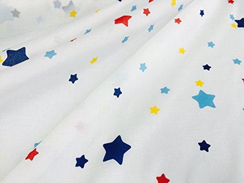 Stella stampa voile tulle organza tessuto–per bambini da sartoria tende–rosso blu giallo stars–larghezza 140cm (prezzo al metro)