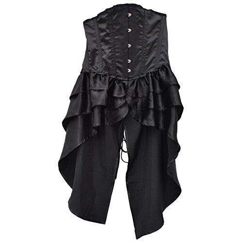 Zoelibat 53067542.008l-Burlesque überbrust corsetto, lunga, corsagen vestito spacco, L, Nero