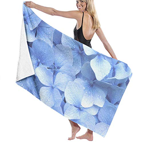 fgregtrg Beach Towels Decor Premium 100% Polyester Fiber Blue Hydrangea Bath Towel by Quick Dry Towel Soft, High Absorbent, Eco-Friendly Printed Bath Towel,Quick Dry 31.5\