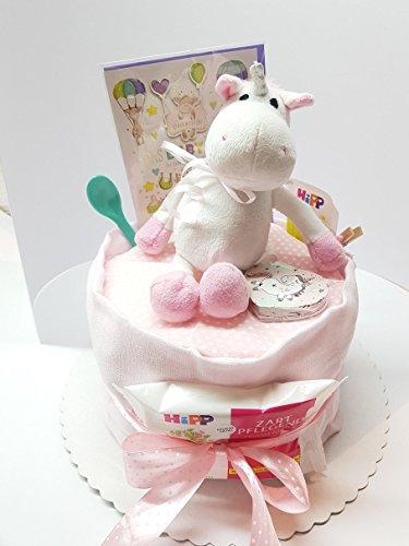 Süße Einhorn Windeltorte Geschenk zur Taufe oder Geburt Baby Babyshower Babyparty