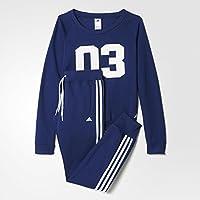 adidas Crewneck TS - Chándal para mujer, color azul marino/blanco, talla S