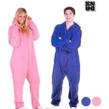 Batamanta Pijama Entero con Cremallera y Capucha (Azul - Talla L - Largo 150 cm - Hombros 50 cm)