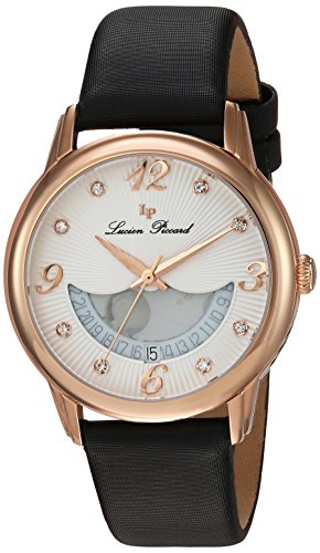 Lucien Piccard Women's Analog Swiss-Quartz Watch with Leather Calfskin Strap LP-40034-RG-02-BKSS