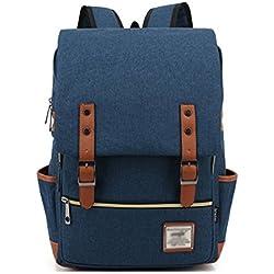 Minetom Casual Escuela Unisex Moda Vintage Mochila Backpack Rucksack Mochila Escolar para Ordenador Portátil Azul Oscuro 14 Pulgada